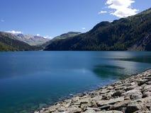 Marmorera水库在瑞士 免版税库存照片