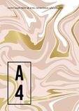 Marmorera abstrakt rosa guld- vit bakgrund Vektortextur av v?tskem?larf?rgen Mall f?r att gifta sig, inbjudningar stock illustrationer