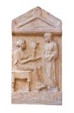 Marmorera den allvarliga stelen av Mika och Dion (400 B.C.) Royaltyfri Foto