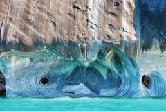 Marmorera grottor, den Puerto tranquiloen, Patagonia, Chile royaltyfri foto