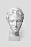 Marmorera huvudet av den unga kvinnan, skulptur för gammalgrekiskagudinnabysten som utförs i överensstämmelse med moderna normal  royaltyfri foto