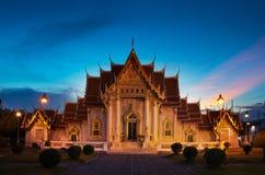 Marmorera templet (Wat Benchamabophit Dusitvanaram), den viktiga turist- dragningen, Bangkok, Thailand. Fotografering för Bildbyråer