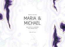 Marmorerade crystal geodlilor och vit för horisontalametist vecto stock illustrationer