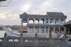 Marmorfartyget på sjön Kunming på sommarslotten i Peking Kina Royaltyfri Fotografi