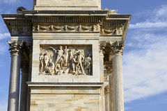 Marmorfries an ACRO-della Schritt, Mailand Stockfoto