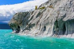 Marmorgrottor av sjögeneral Carrera (Chile) Arkivbilder