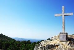 Marmorkreuz an der Penha Kirche, Portugal. Stockfotografie