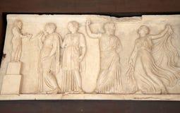 Marmorlättnad i Roman Herculaneum, Italien Royaltyfria Foton