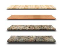 Marmorregale oder Regal und Holzregal lokalisiert auf weißem backgro lizenzfreies stockbild