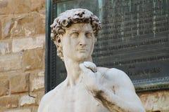 Marmorskulptur av den david michelangelo buonarottien Italien royaltyfri foto