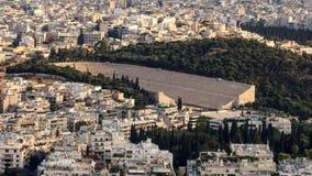 Marmorstadion av första olympiska spel Arkivbild