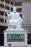 Marmorstatue und Monument zu Stadtzentrum Kaiser-Zar Samoil (Samuil) herein von Skopje, Mazedonien stockbild