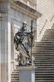 Marmorstatue von St. Benedict durch P Campi von Carrara, Kloster von Bramante, Benediktinerabtei von Montecassino, Monte Cassino Lizenzfreie Stockfotos