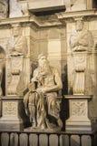 Marmorstatyn av Moses högg vid Michelangelo i Rome, Italien Arkivbild