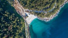 MarmorstrandSaliara strand greece öthassos Arkivbild