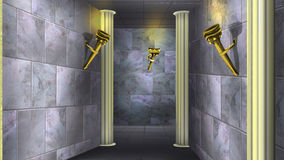 Marmorväggar av den forntida labyrinten 03 Arkivfoto