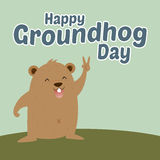 Marmotta che dice giorno della marmotta felice Fotografie Stock