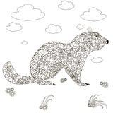Marmotta disegnata a mano, anti stres in bianco e nero Fotografia Stock Libera da Diritti