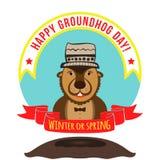 Marmotte d'Amérique sur le fond d'hiver avec un chapeau drôle sur sa tête hasard Image libre de droits