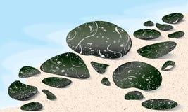 Marmurów kamienie na plaży Obrazy Royalty Free