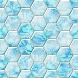 Marmur - błękit, biel - bezszwowy sześciokąta tło Zdjęcie Royalty Free