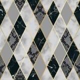 Marmur i Snakeskin Luksusowy Geometryczny Bezszwowy wzór ilustracja wektor