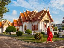 Marmurowa świątynia, Wat Benchamabopit Dusitvanaram w Bangkok, Th zdjęcia royalty free