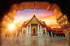 Marmurowa świątynia, Wat Benchamabopitr Dusitvanaram Bangkok THAIL zdjęcie royalty free