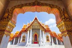 Marmurowa świątynia, Wat Benchamabopitr Dusitvanaram Najwięcej populars przyciągania dla Tajlandzkiego i obcokrajowa podróżnika obrazy stock