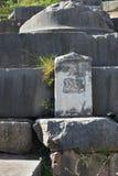 Marmurowa cegiełka z byka wizerunkiem w Delphi, Grecja Zdjęcia Royalty Free