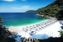 Marmurowa plażowa Saliara plaża, Thassos wyspy, Grecja Fotografia Royalty Free