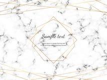 Marmurowa tekstura z nowożytną geometryczną poligonalną ramą i złotem wykłada Szablon dla karty, ulotka, zaproszenie, przyjęcie,  ilustracja wektor