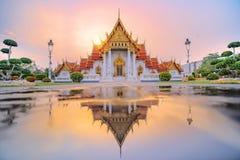 Marmurowa ?wi?tynia Bangkok, Tajlandia S?awny marmurowy ?wi?tynny Benchamabophit zdjęcia royalty free