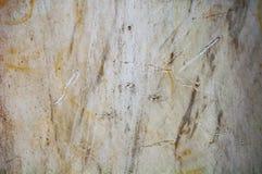 Marmurowe tło tekstury Zgłębia narysy i pęknięcia na brudnym, uszkadzającym bielu kamieniu, fotografia stock
