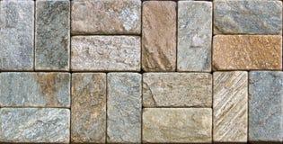 Marmurowej tekstury dekoracyjna cegła, ścian płytki robić naturalny kamień Materiały budowlani fotografia royalty free