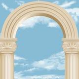 Marmurowy łuk i chmurny niebo ilustracja wektor