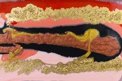 Marmurowy abstrakcjonistyczny akrylowy tło Czerwona marmoryzaci grafiki tekstura Agat czochry wzór Złoto proszek Obraz Royalty Free
