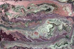 Marmurowy abstrakcjonistyczny akrylowy tło Lekka marmoryzaci grafiki tekstura Agat czochry wzór Złoto proszek Obrazy Royalty Free