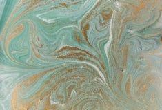 Marmurowy abstrakcjonistyczny akrylowy tło Natury marmoryzaci grafiki zielona tekstura błyskotliwość złota Zdjęcia Stock