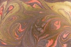 Marmurowy abstrakcjonistyczny akrylowy tło Różowa i złocista marmoryzaci grafiki tekstura Agat czochry wzór Złoto proszek Obrazy Royalty Free