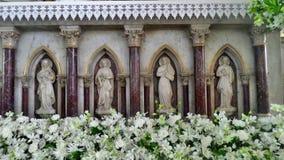 Marmurowy altarpiece w Świętym Różańcowym Kalawar kościół Bangkok Obrazy Stock