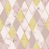 Marmurowy Luksusowy Geometryczny Bezszwowy wzór ilustracja wektor