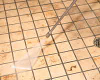 Marmurowy podłoga naciska cleaning Fotografia Royalty Free