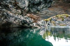 Marmurowy łup w Ruskeala góry parku, Karelia zdjęcie royalty free