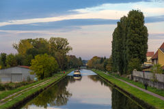 Marne–Rhine Canal in Saverne autumn evening Stock Images