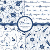 Marne background. Marine vector patterns set. Ships and waves. Anchors and chains. Ropes, sailor hats, spyglasses, hand-wheels Royalty Free Stock Photography