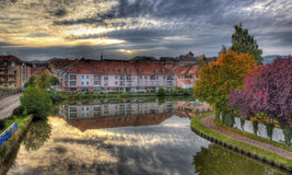 Marne - Rhine Canal in Saverne autumn evening Stock Photo