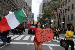 Marni Halassa on Fifth Avenue with Italian flag Royalty Free Stock Photo