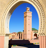 In maroc africa minaret and the blue    sky Royalty Free Stock Photos