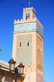 Maroc africa minaret   the blue    street lamp Royalty Free Stock Image